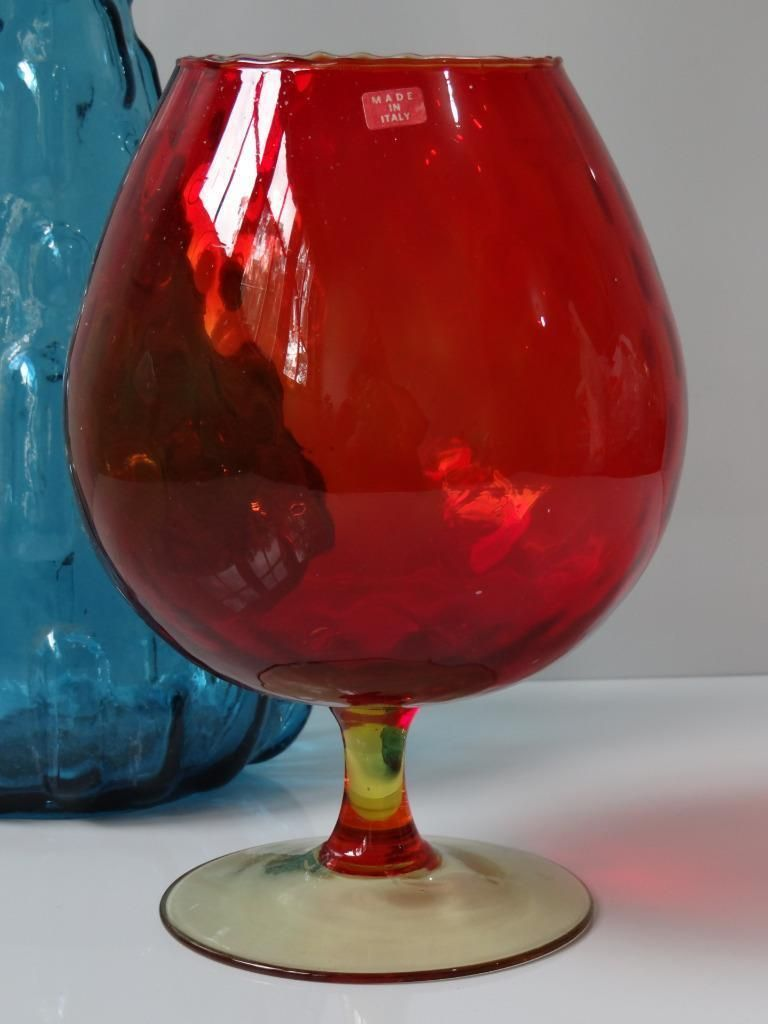 Large Retro Red Mid Century Vintage Glass Bowl Brandy Balloon Art Glass Bowl Ebay Glass Art Glass Bowl Glass Bowl