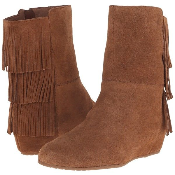 Isola Tricia (Whiskey) Women's Boots ($98) ❤ liked on Polyvore featuring shoes, boots, ankle boots, brown, brown boots, fringe ankle boots, fringe boots, short brown boots and short fringe boots