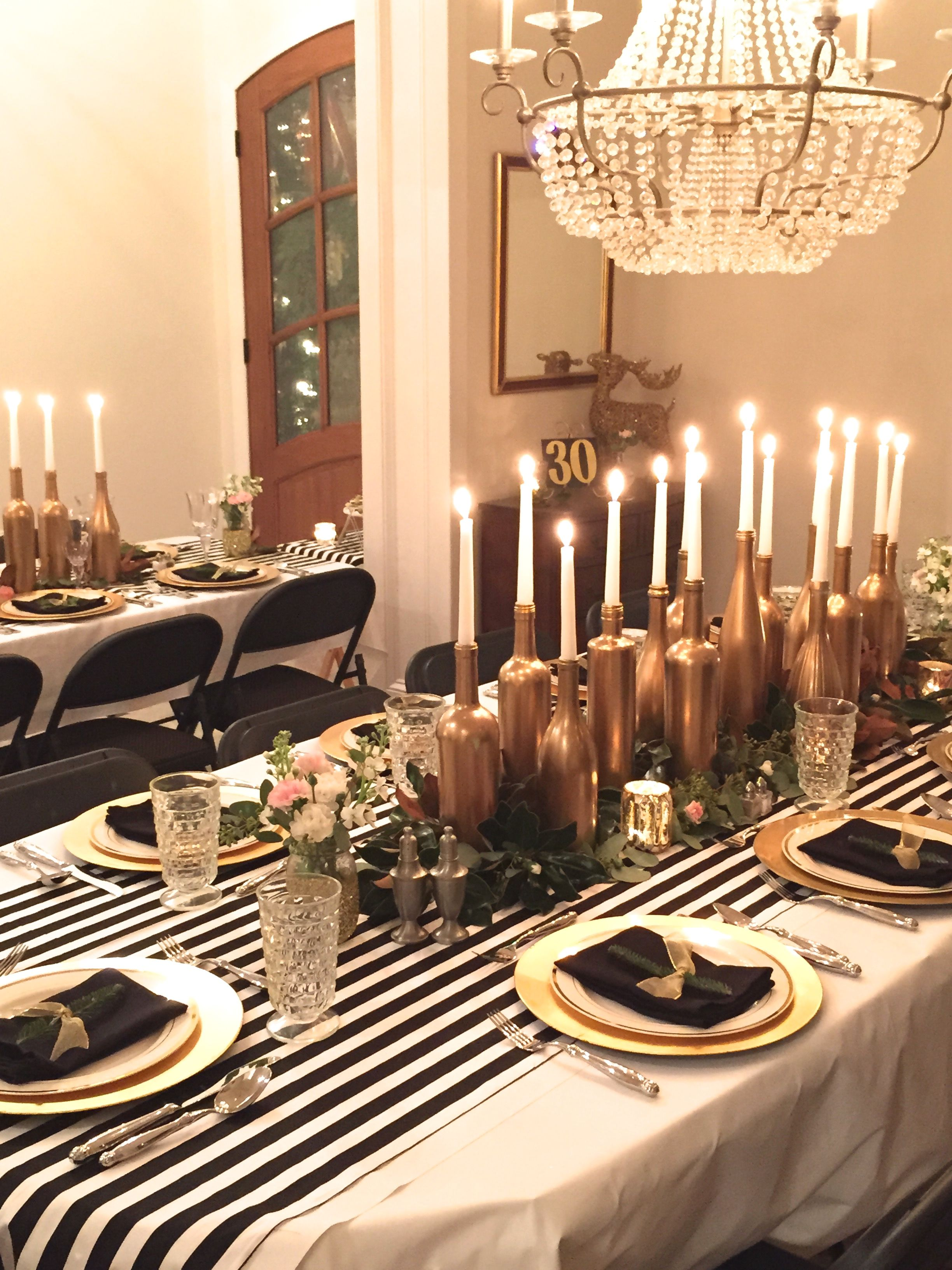 Exceptional 60th Birthday Dinner Party Ideas Part - 4: Gold, Black, And White: My Birthday Dinner Party - SevenLayerCharlotte