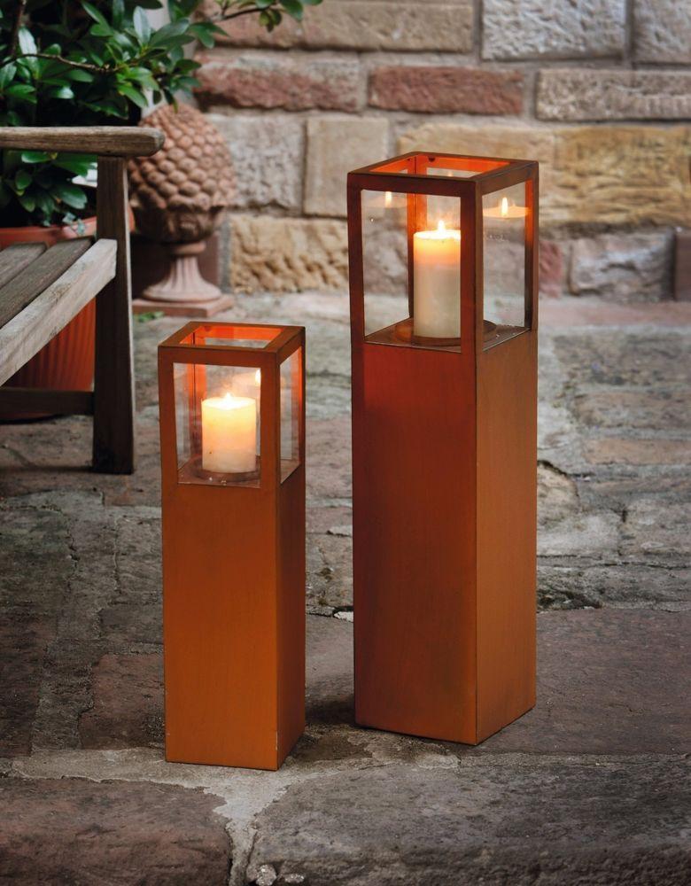 Windlicht Säule Metall Rost Optik 2er Set Windlicht Glas