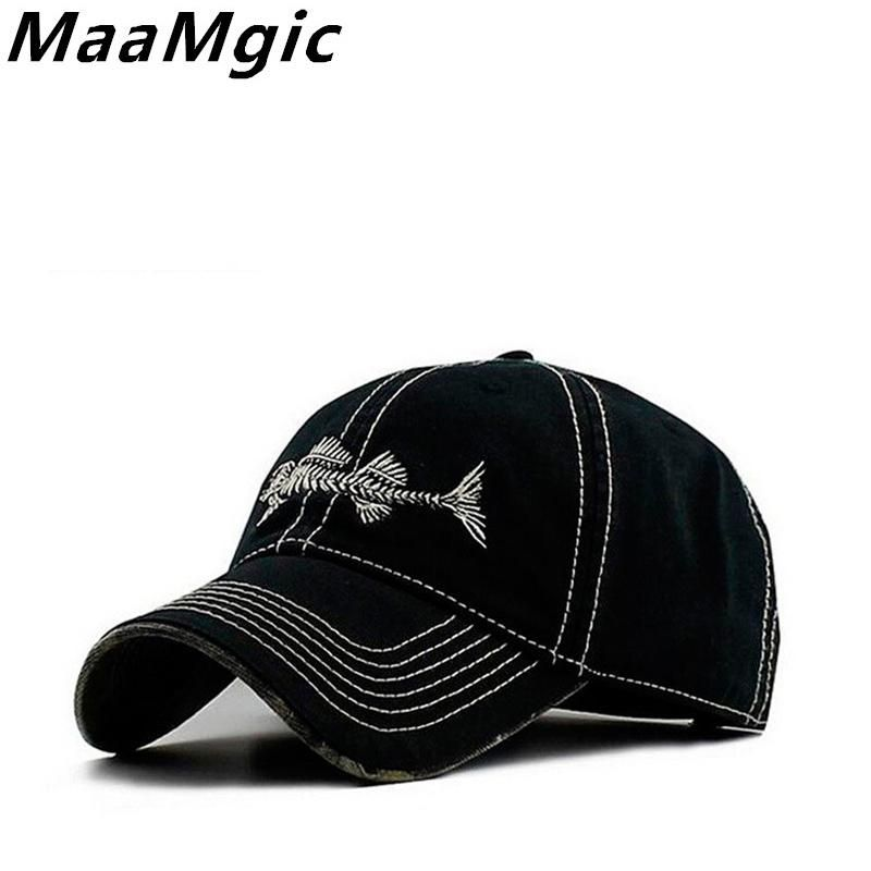 Fish Bones Embroidered Denim Hat with Adjustable Velcro Strap - Status: Drop Ship - Estimated Delivery Time 12-20 days
