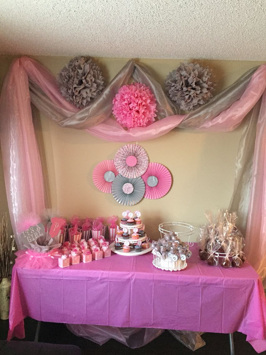 Pink and gray baby shower baby shower centerpieces - Decoration baby shower girl ...