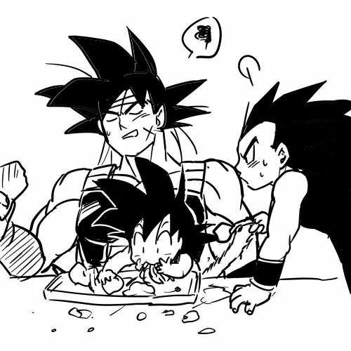 Bardock, Hungry Goku & Radditz Art By Herumon