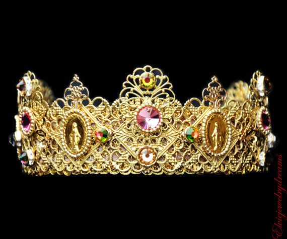 New Roman D&G Crown Headband Swarovski 24 k Gold Pink Handmade Tiara Headband fashion Dolce and Gabbana coins