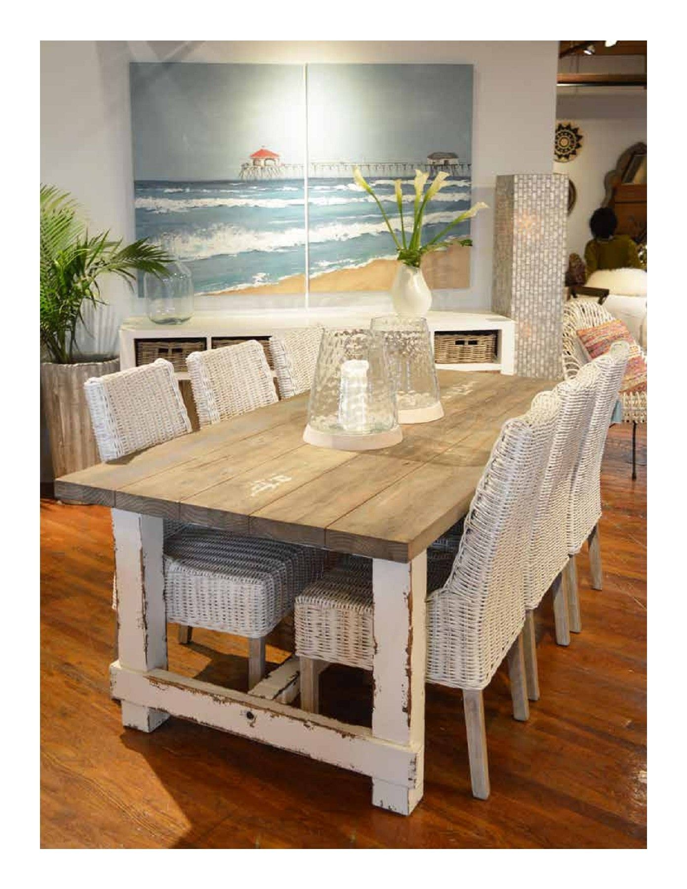 Rustic Farmhouse Wood Dining Table Distressed White Natural