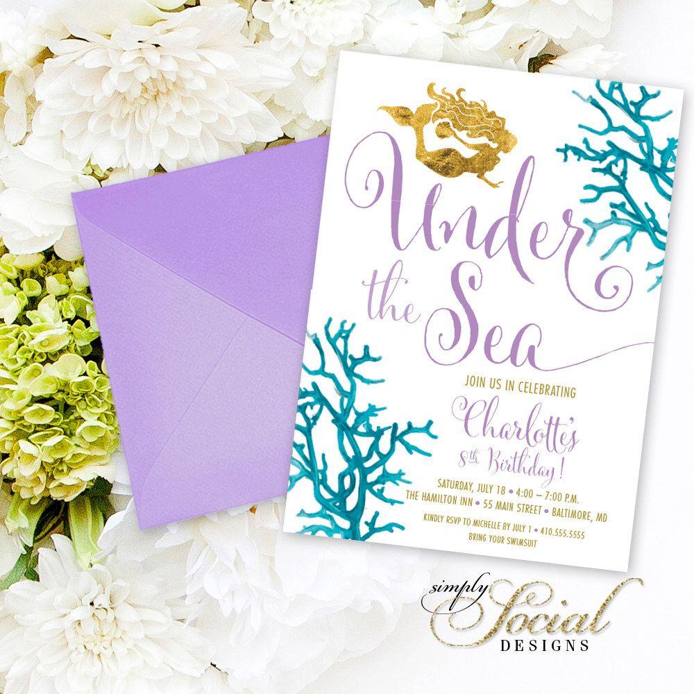 Under the Sea Mermaid Birthday Party Invitation - Boho Swimming ...