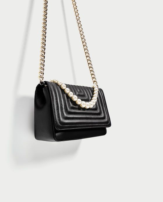 Image 1 of LEATHER CROSSBODY BAG WITH FAUX PEARL DETAILS from Zara