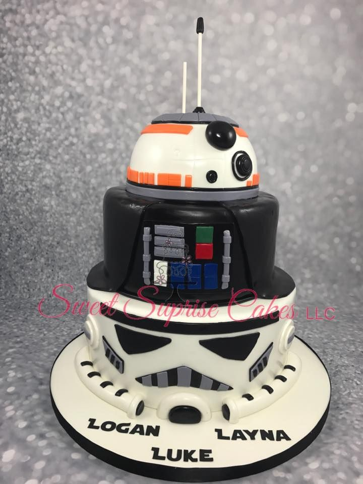 Star Wars Birthday Cake Storm Trooper Darth Vader And BB8 Multiple Party