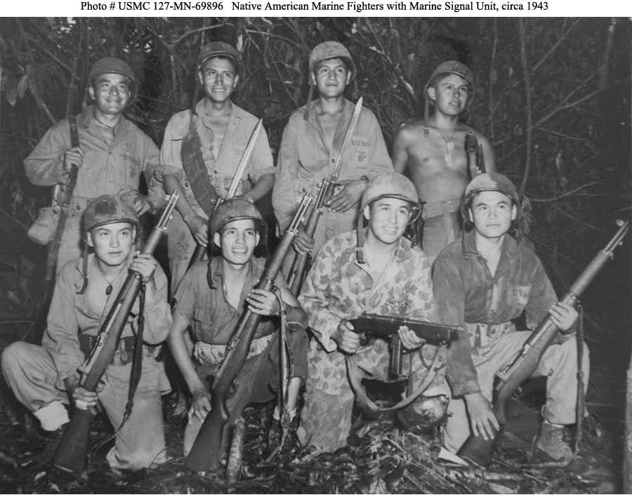Navajo Marines Front Row Left To Right Private Earl Johnny Rhpinterest: Us Marines Radio Codes At Elf-jo.com