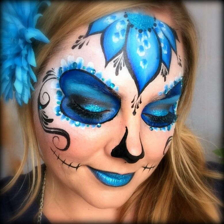 Lisa Joy Young Day of the Dead face paint design Sugar