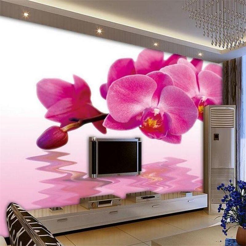 Beibehang Photo 3d wallpaper custom butterfly orchids water flower ...