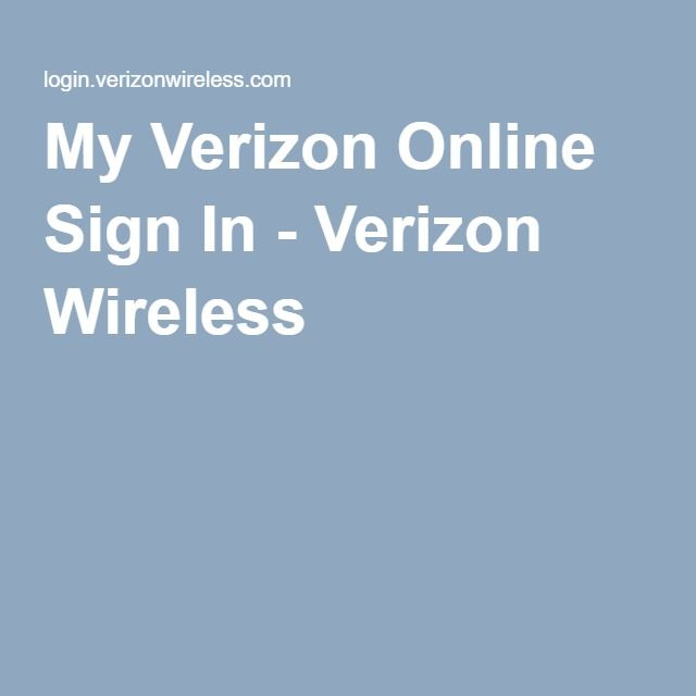 My Verizon Online Sign In Verizon Wireless Online
