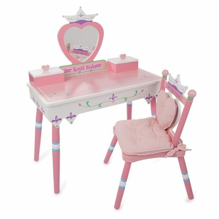 her royal highness vanity and chair set so cute for a little girl 39 s room color pink. Black Bedroom Furniture Sets. Home Design Ideas