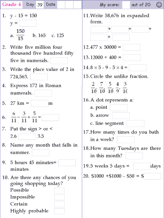 Mental Math Grade 4 Day 39 4th Grade Math Worksheets Math