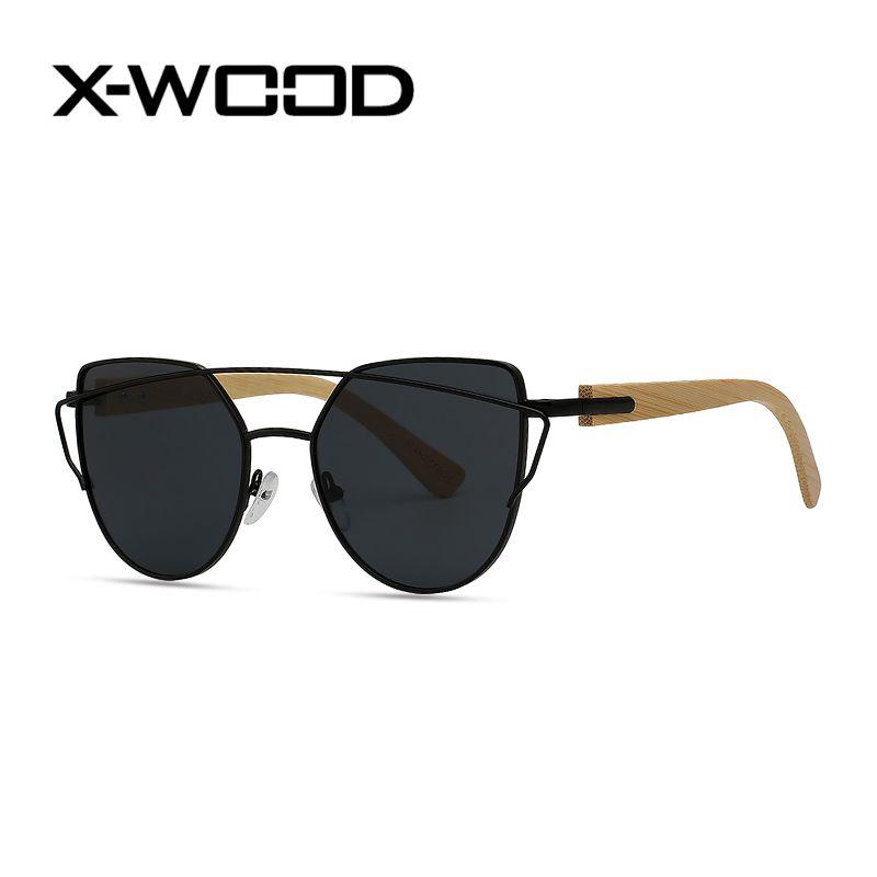 faac9f4624f ... Color Pilot Metal Bamboo Sunglasses Men Women Cat Eye UV400 Mirror  Sunglass Driving Car Classical Pink Sunglasses