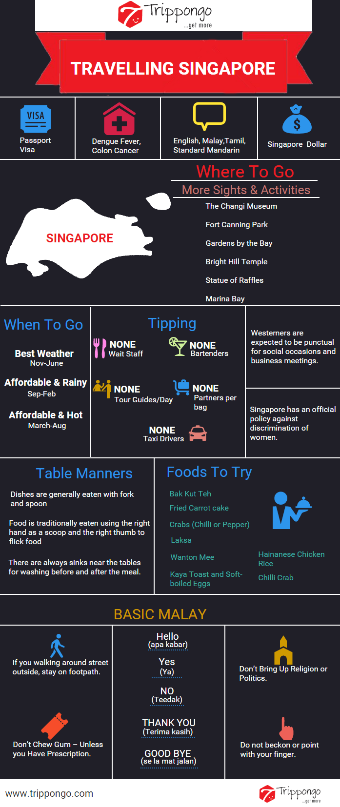 Get complete information about sightseeing and tourist destinations in Singapore travelling infographic.