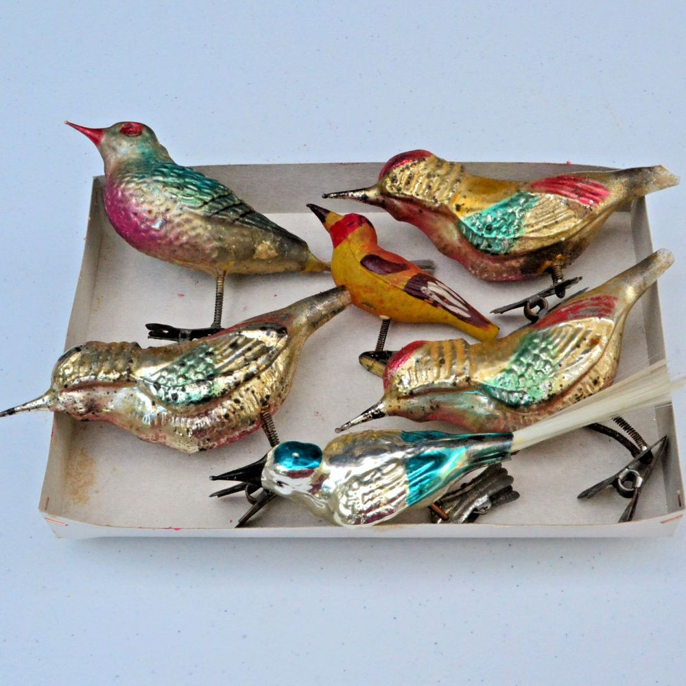 bird ornaments  christmas bird ornaments Mercury glass Bird ornaments