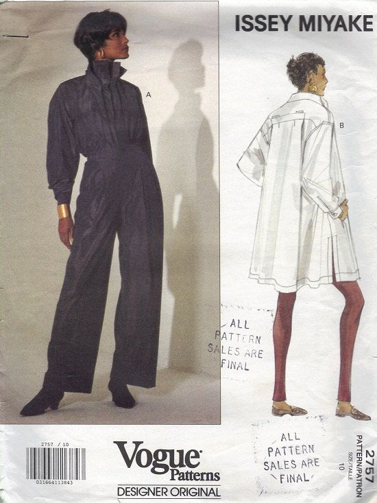 Vogue Designer Sewing Pattern Issey Miyake Pullover Top Loose Fit ...