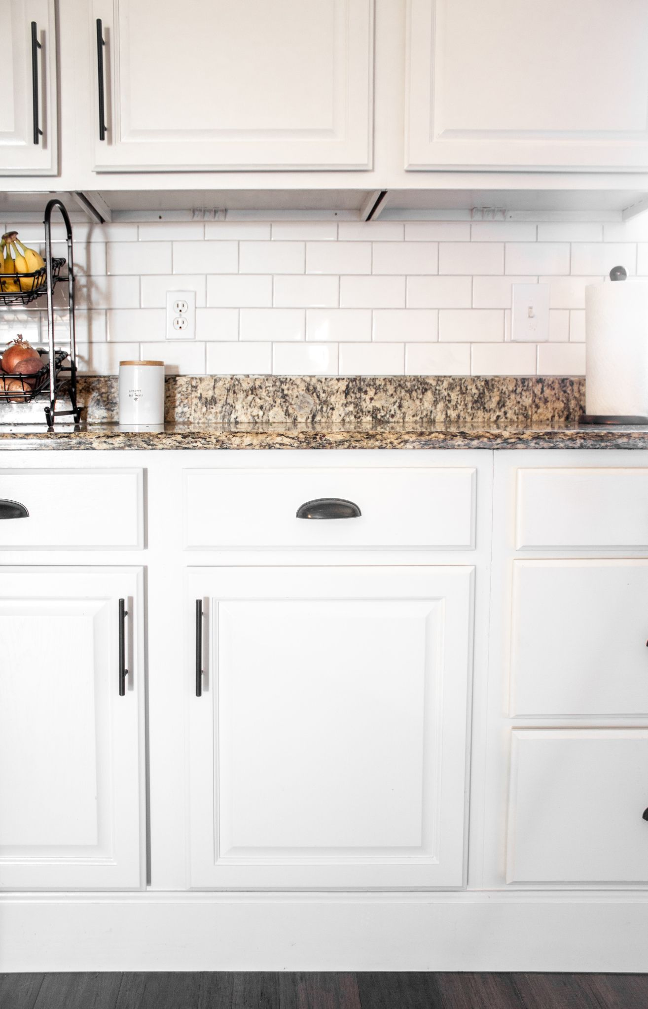 White Kitchen Cabinets With Granite Countertops And Subway Tile