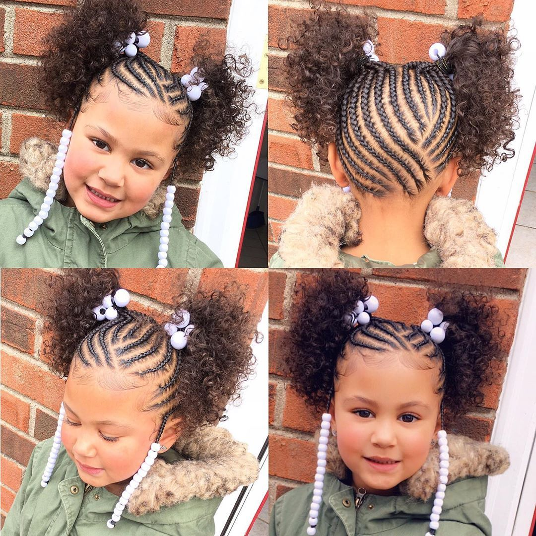 Tylica On Instagram She S The Cutest No Weave Added Naturalhairloves In 2020 African Hairstyles For Kids African Braids Hairstyles Little Girl Braids
