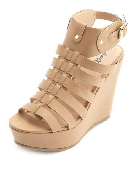 Strappy Platform Gladiator Wedge Sandals: Charlotte Russe