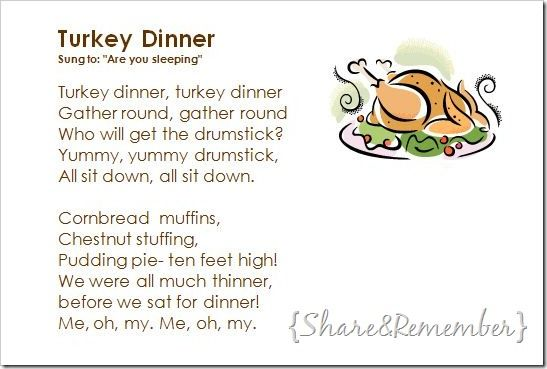 Turkey Dinner Song Craft Printable Thanksgiving Songs For Kids
