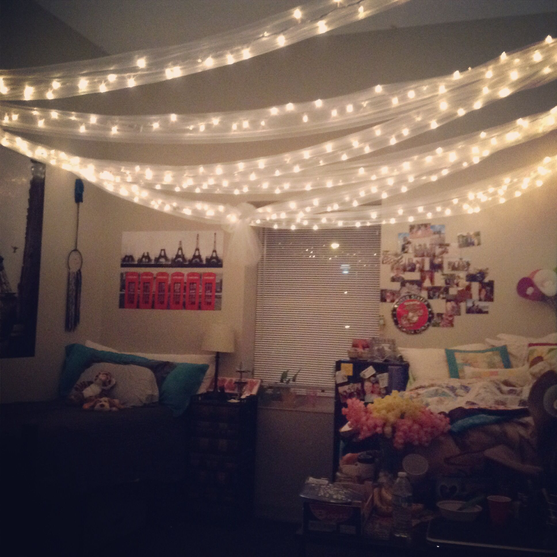 Christmas Lights In A Dorm Room For Decoration. My