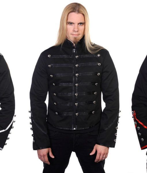 Men/'s Black Gothic Punk With Buckle Straps Metal Cuff Jacket By Banned Apparel