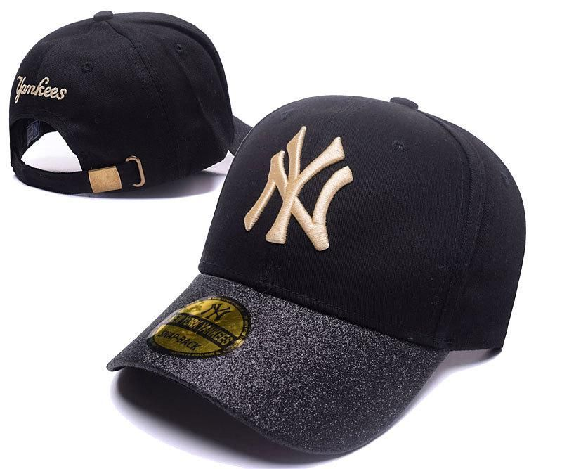 Men S Women S New York Yankees Black Shimmer Shine Brim Baseball Adjustable Hat Black Gold Yankees Gear Adjustable Hat Hats