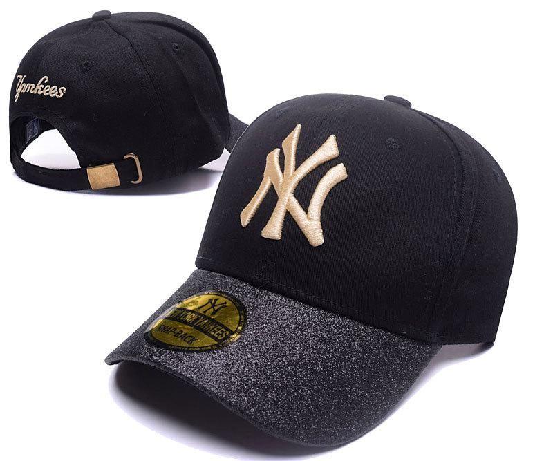 Men S Women S New York Yankees Black Shimmer Shine Brim Baseball Adjustable Hat Black Gold Yankees Gear Adjustable Hat Hats