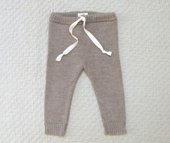 e6b50f18c Drawstring pants / baby alpaca wool leggings for babies and toddlers / gray  / brown pants for boy / girl / toddler / kids