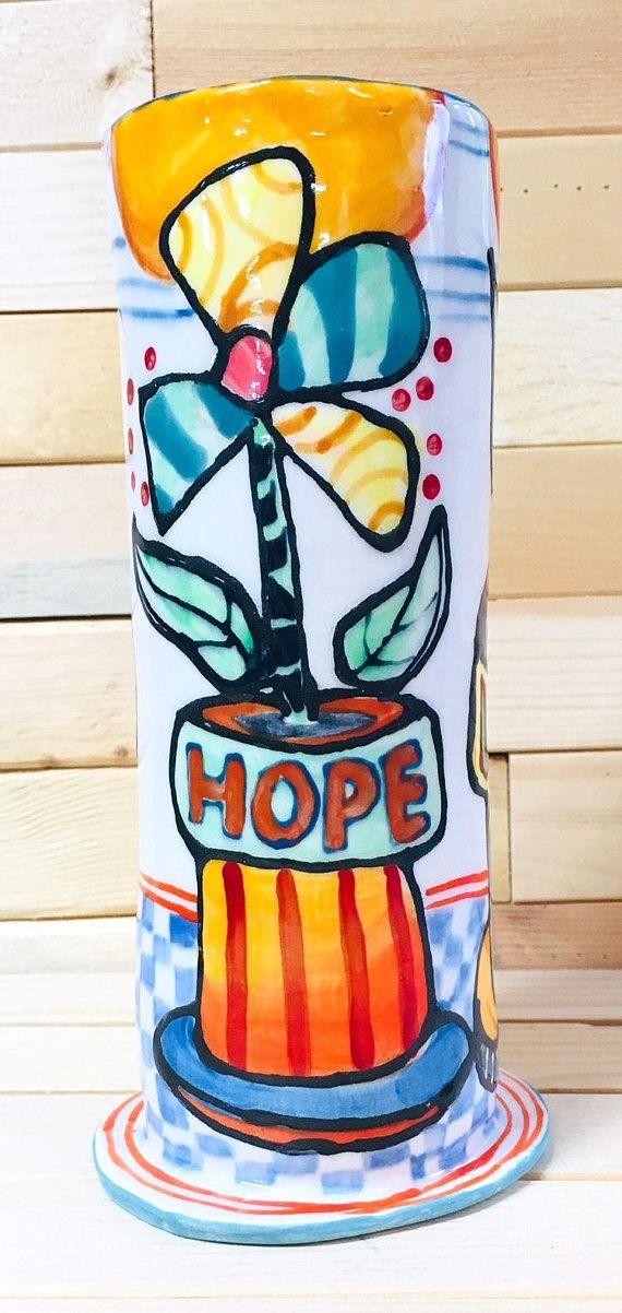 Vase V451 Faith Hope Love Faith hope love, Hand painted