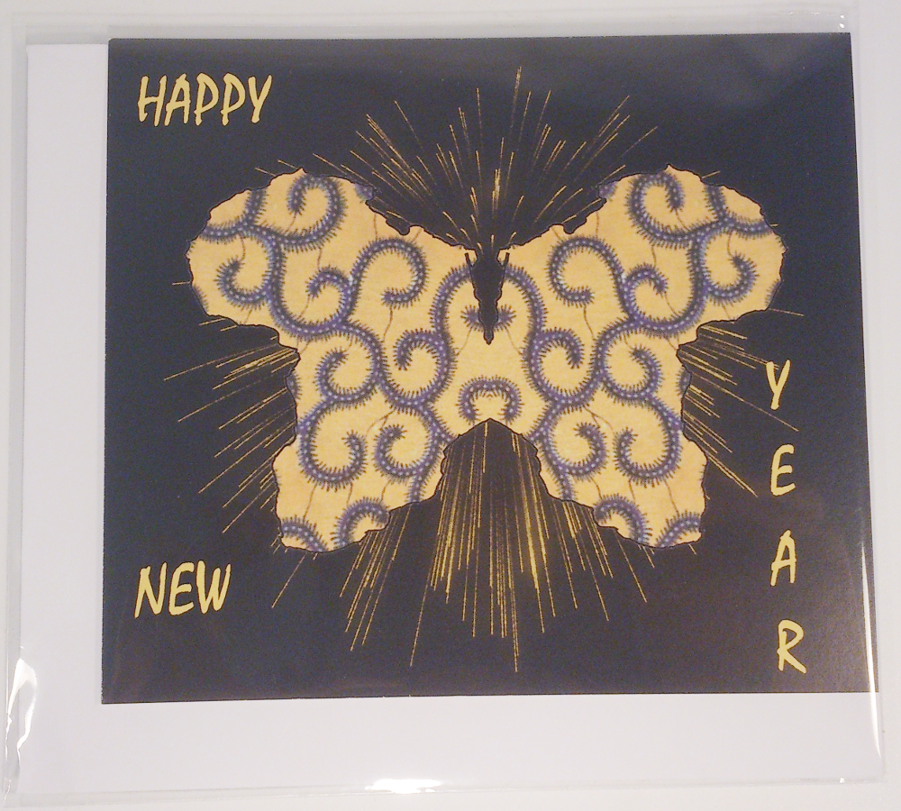 Yellow Butterfly In African Fabric New Year Greeting Card Available