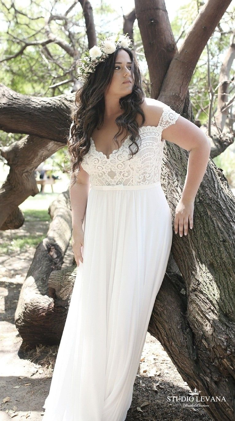 Bohemian plus size wedding gown with off shoulder sleeves autumn