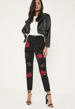 603c10c263cc28 Black Riot Embroidered Rose Ripped Mom Jeans Black Mom Jeans, Ripped Mom  Jeans, Patched