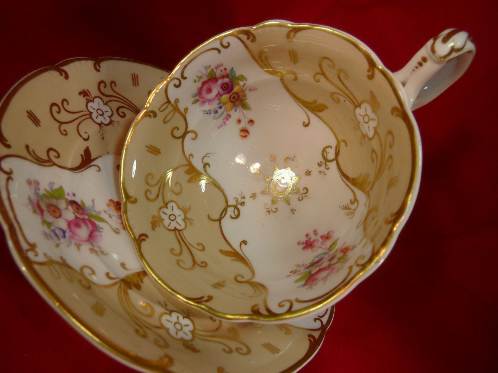 Antique Ridgway Tea Cup And Saucer White Molded Split