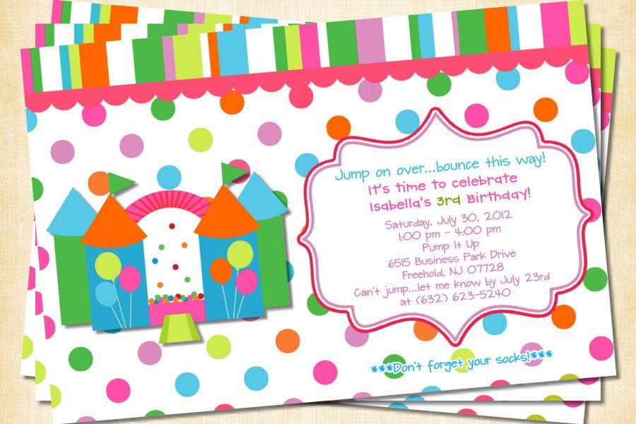 Bounce House Birthday Invitations Google Search Custom Birthday Invitations Custom Birthday Birthday Invitations