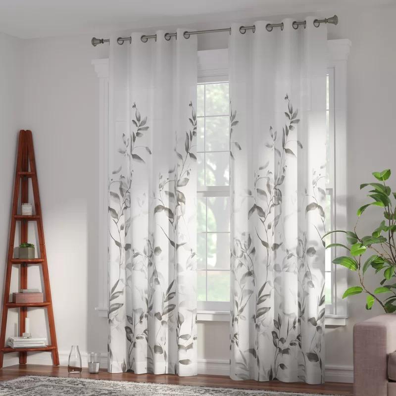 Trent Floral Flower Semi Sheer Grommet Single Curtain Panel In