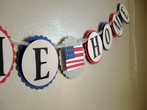 welcome home banner - military welcome garland - photo prop