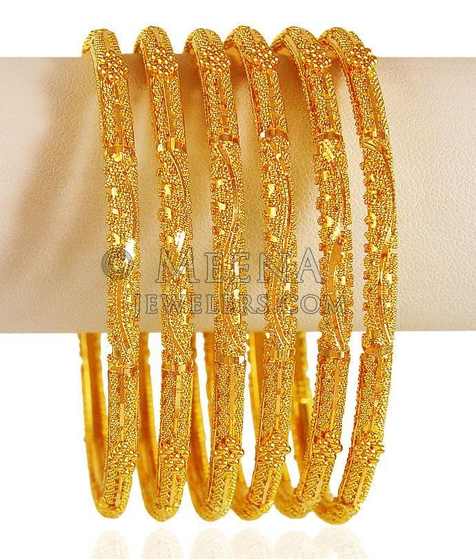 22kt Gold Bangle Set (2Pcs) ( Set of Bangles ) | jewelry ...