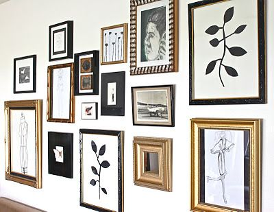 get black and gold frames from thrift store and fill with fun ...