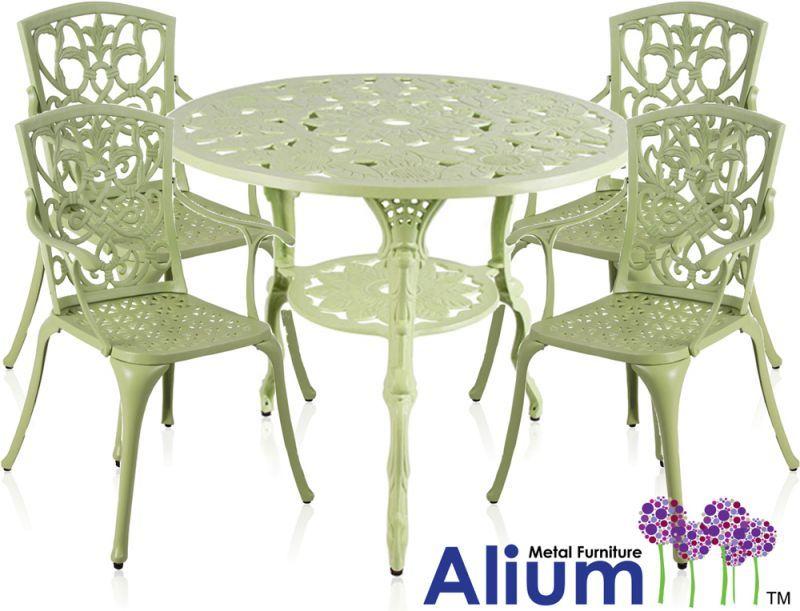 alium cast aluminium 4 seater round garden furniture set in sage green