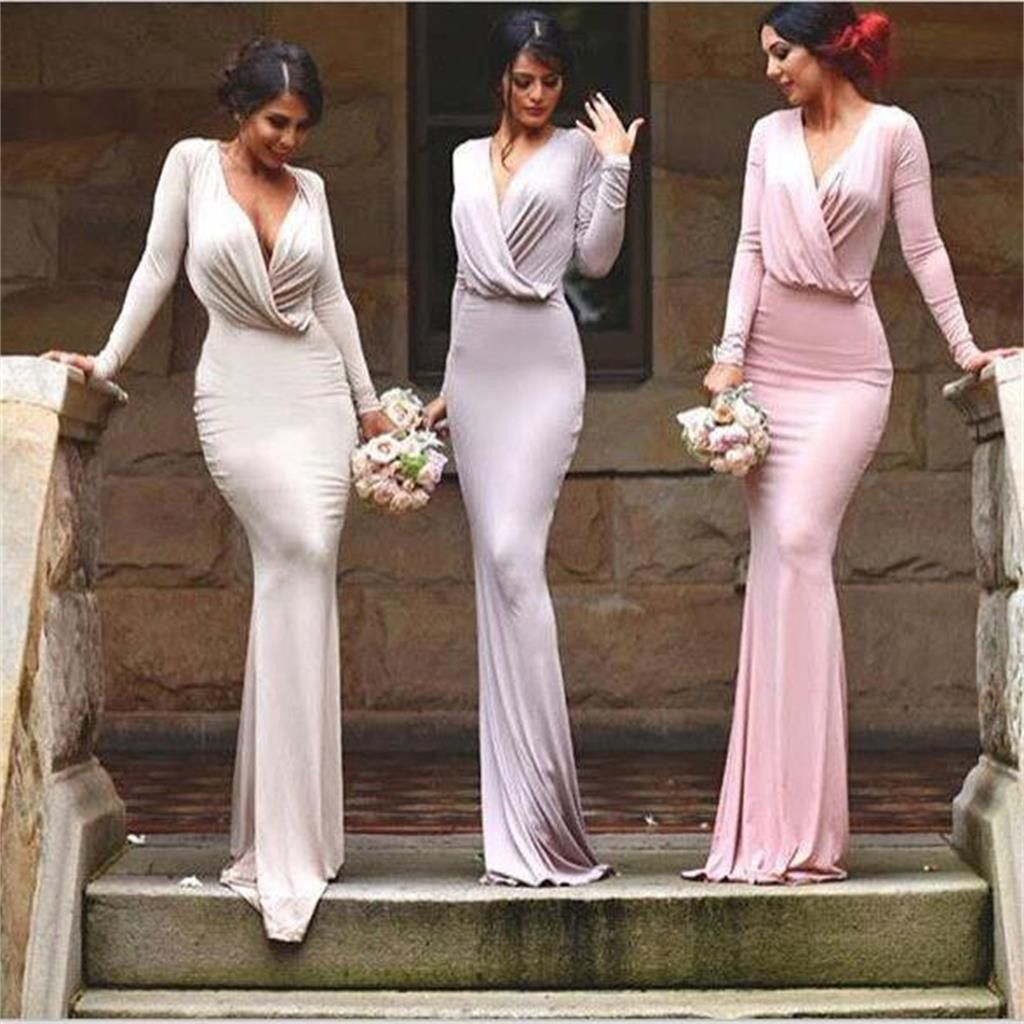 Long sleeves sexy simple unique style bridesmaid dresslong formal