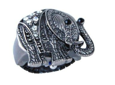 Versales Women's Gun Tone Elephant Ring Watch With Baguette Stones