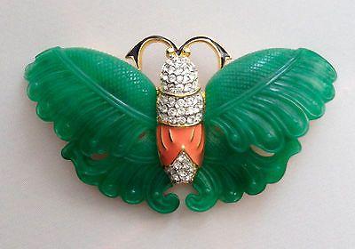 Vintage Kenneth J Lane KJL Jade Enamel Crystal Rhinestone Butterfly Brooch Pin   eBay