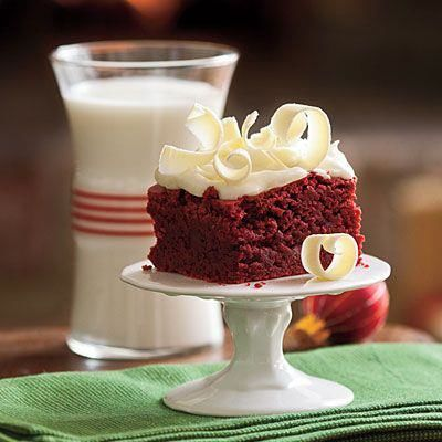 red velvet brownie with white chocolate shavings