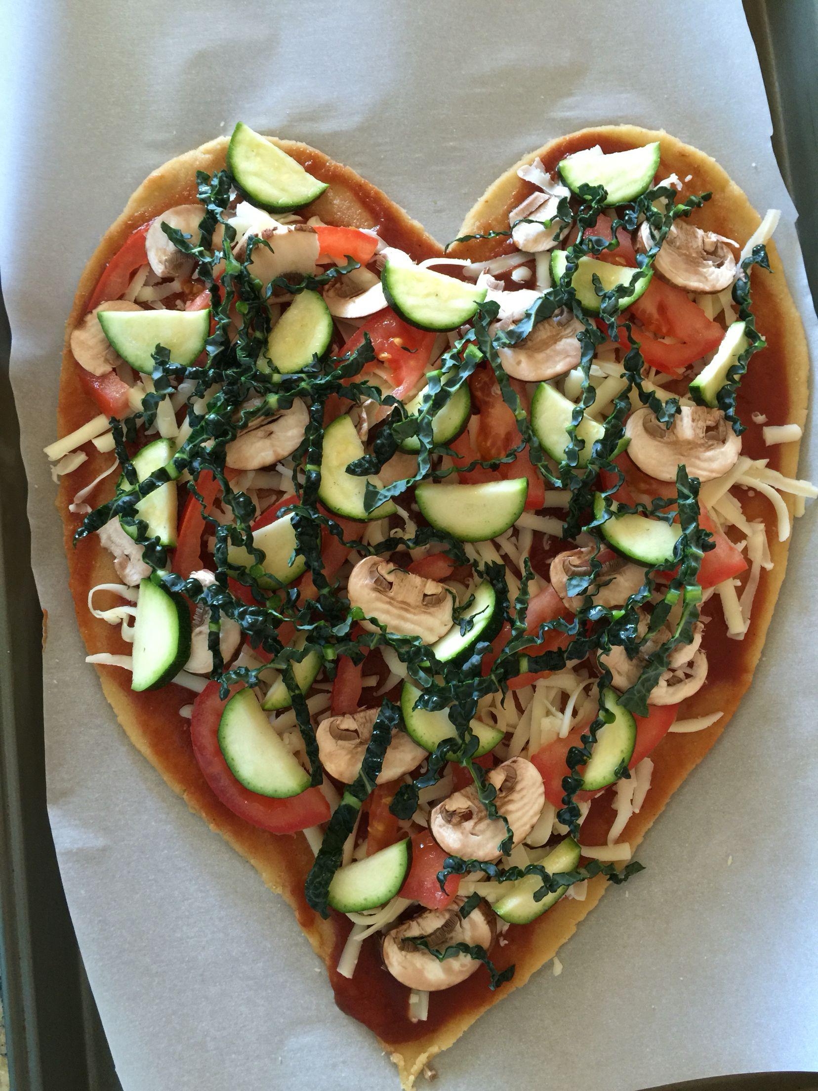 Gluten free, enjoy an Almond flour crust with tasty veg in heart shape by almond lite.com