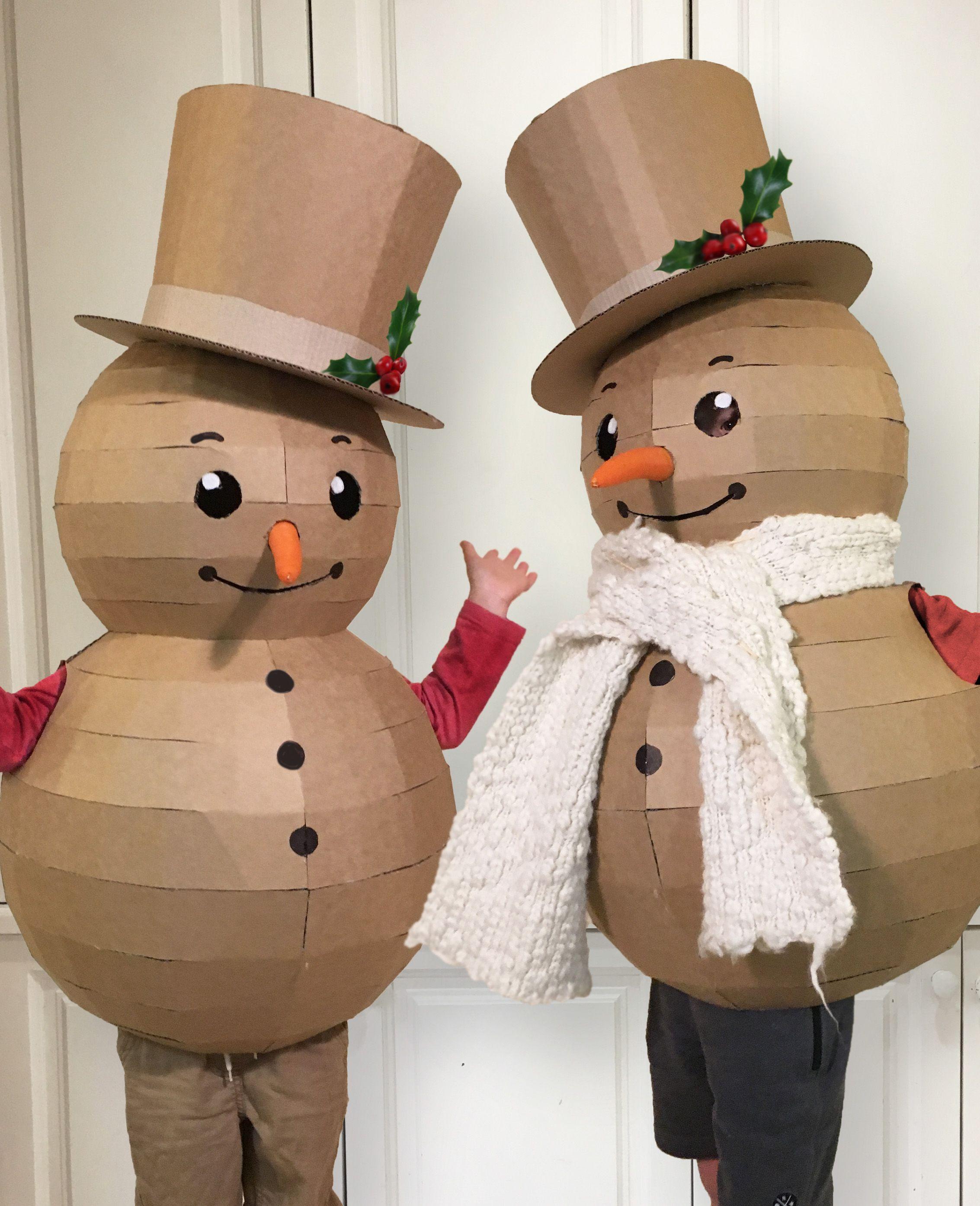 DIY CARDBOARD SNOWMAN COSTUME (With images) | Cardboard ...