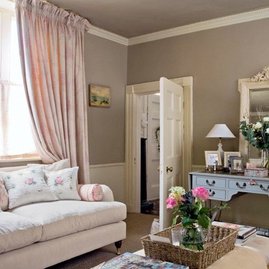 Pink Traditional Living Room | Living Room Ideas | Sofa | Image