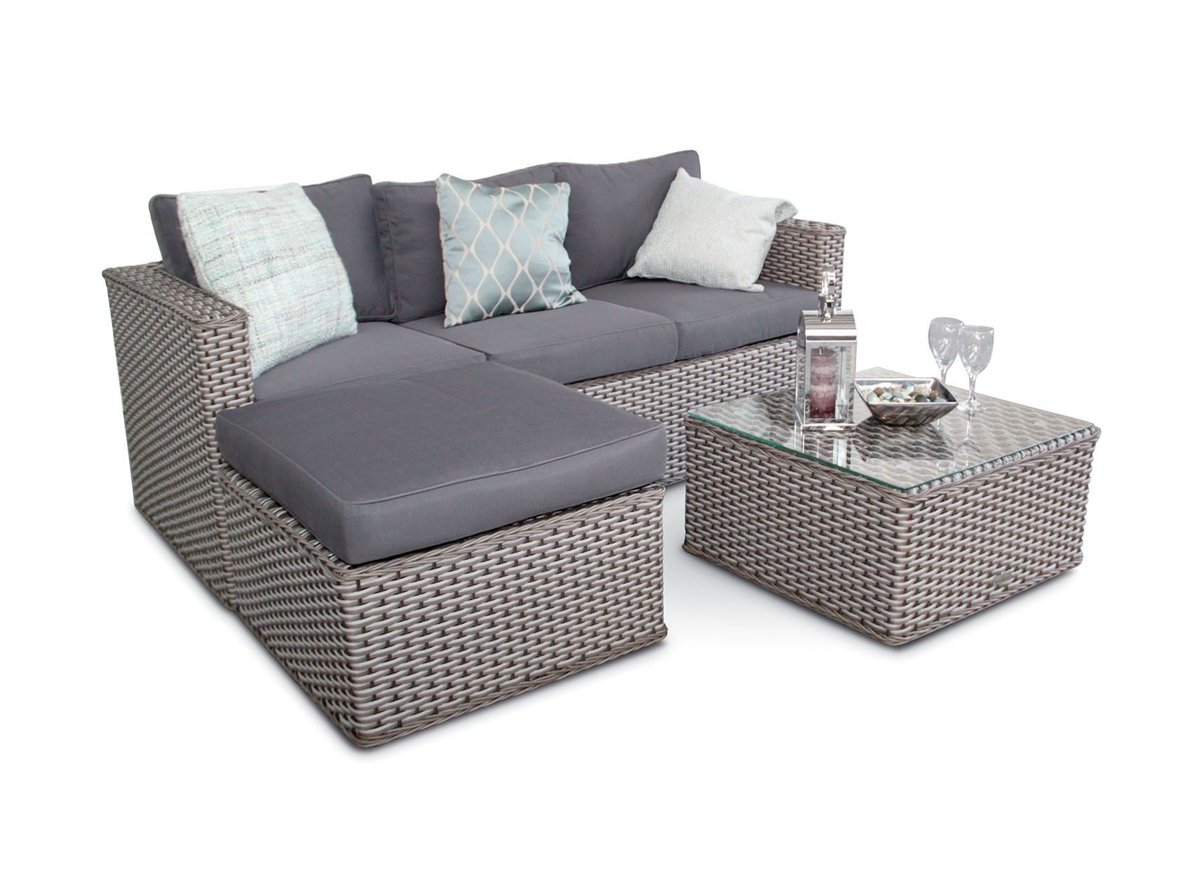 Bahamas Rattan 9 Seater Outdoor Sofa Set - 9-Seater - Whitewash